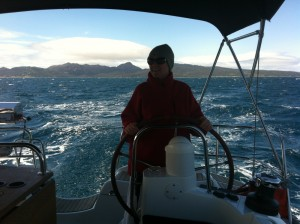 Under sail heading north to Coles Bay after a great weekend away