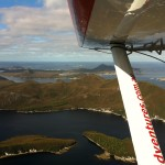 Tasmanian Air Adventures deliver guests to Entourage in Bathurst Harbour and Port Davey in early Autumn